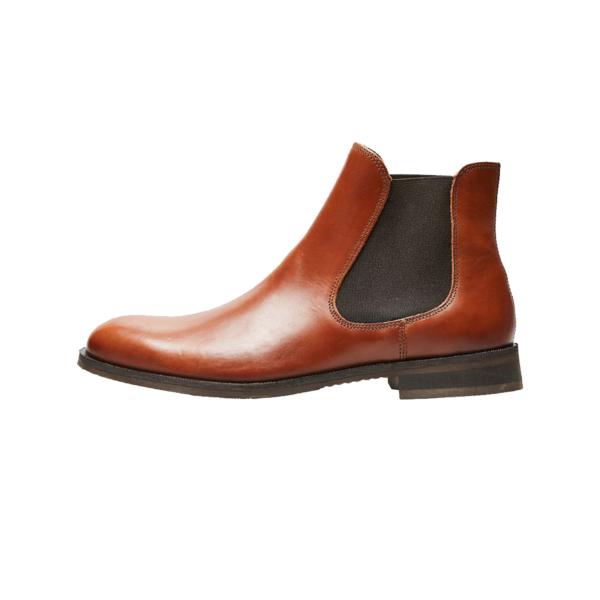 SELECTED Louis Leather Chelsea Boots - Cognac (16070195-CGNC)