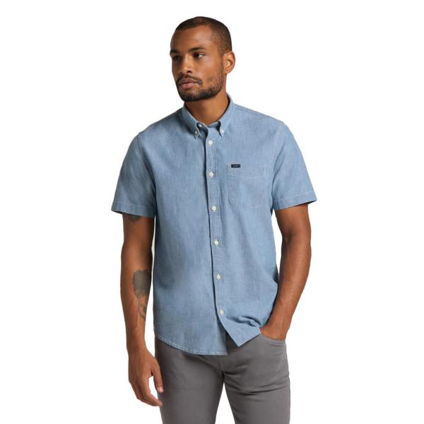 LEE Button Down Short Sleeve Shirt - Piscine (L886QMQE)