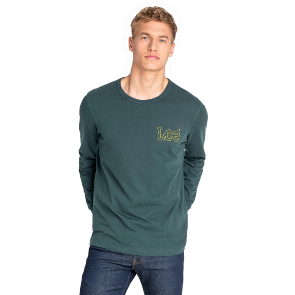 LEE Outline Logo LS Tee - Bottle Green (L60GFEBB)