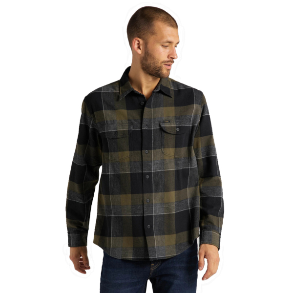 LEE Worker Flannel Men Shirt - Olive Green (L68HRINX)