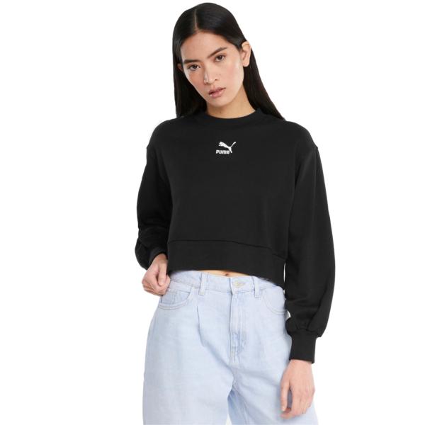 PUMA Classics Puff Sleeve Crew Sweater - Black (531616-01)