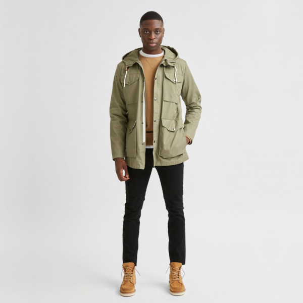 SELECTED West Hooded Cotton Parka Jacket (16076968-Dusky-Green)