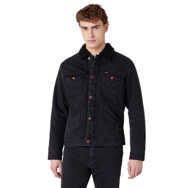 WRANGLER 124MJ Sherpa Denim Jacket - Black Washed (W4MSB5236)