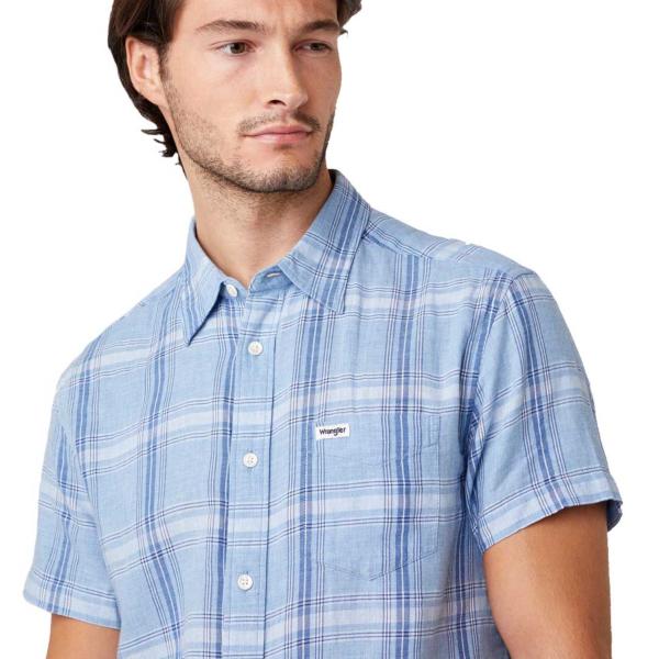 WRANGLER One Pocket Short Sleeve Shirt - Cerulean Blue (W5J11OXVT)