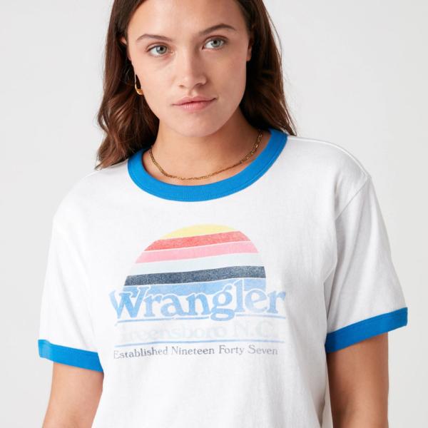 WRANGLER Relaxed Ringer Women Tee - White (W7S0DR989)