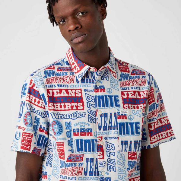 WRANGLER Relaxed Short Sleeve Shirt - Text Mania (W5J47S18E)