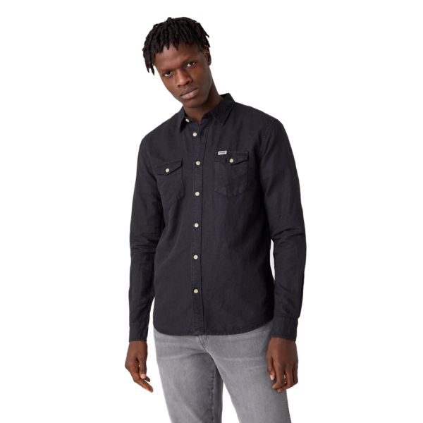 WRANGLER Two Pocket Flap Shirt - Faded Black (W5A5LOXV6)