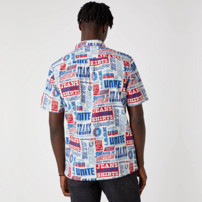 WRANGLER Relaxed Men Shirt - Text Mania (W5J47S18E)