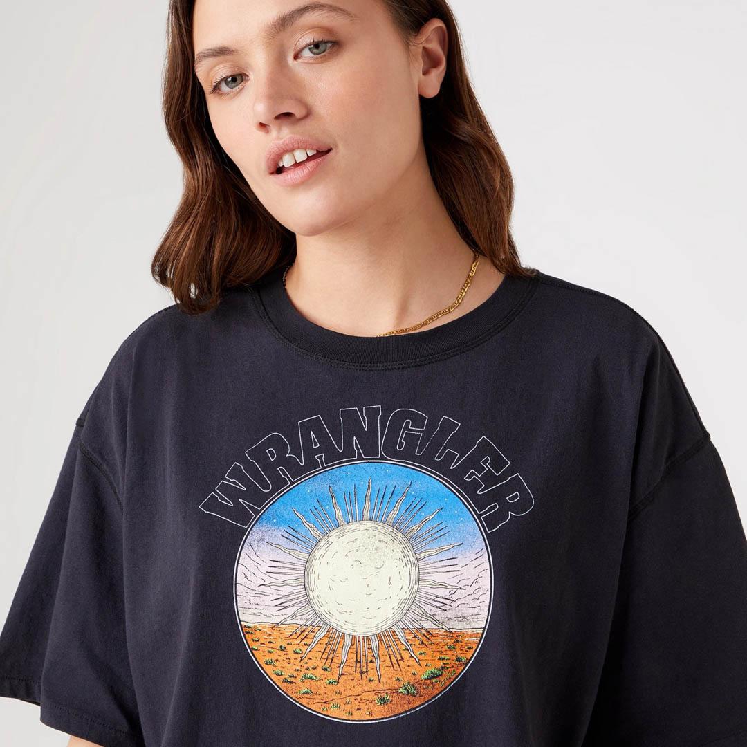 WRANGLER Μπλουζάκι Κοντό Γυναικείο Μαύρο Γκρι (W7S2GFXVD)