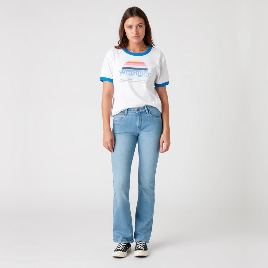 WRANGLER Old School γυναικείο λευκό μπλουζάκι με τύπωμα (W7S0DR989)
